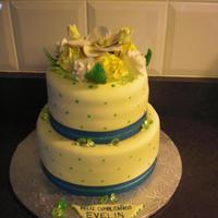 Green & Yellow Floral Birthday Cake