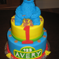 Cookie Monster & Bananas Birthday Cake For a little boy who loves Cookie Monster and bananas