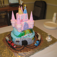 Princess & Thomas Cake For my twins' 4th birthday. She loves princesses, he loves Thomas the Tank Engine. Trains and dolls are toys, everything else is...
