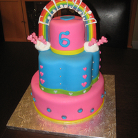 Rainbows And Hearts Birthday Cake