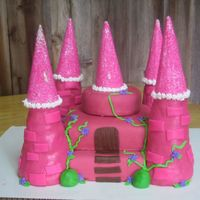 Princess Castle Cake  I was terrified to make this. I'd never done a princess castle before! Turned out ok though! The towers are made RKT and sugar ice...