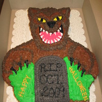 Rip Oct 2009 Half sheet chocolate cake with chocolate buttercream (everything except for the grass and werewolf tongue). The werewolf looks similar to a...