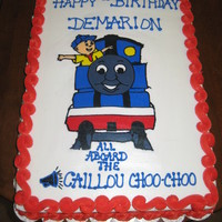 All Aboard The Caillou Choo-Choo I made this cake for my 2yr old nephew. These two characters are his absolute FAVS! He loved the cake and cupcakes so much he cried to have...
