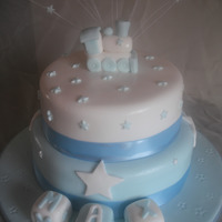 Baby Boy Train Christening Cake