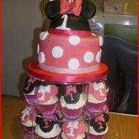 Minnie Mouse a cake made for my friends one year old daughter. with matching cupcakes. again glittery but doesnt show in pictures (really wish there was...