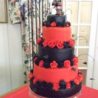 Wiccan Wedding Cake The bride wanted red and black topsy turvy with bats. She provided to zombie, brain eating topper! I just couldn't get my topsy turvy...