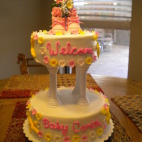 "Baby Shower baby shower cake 6"" and 9"" cake buttercream with fondant accents and a bought topper"