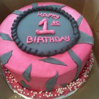 "Happy Birthday! Hot pink and zebra strips!8"" round cakes!"