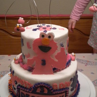 Girls Elmo Cake! my daughters 3rd birthday cake request! ELMO!! this was a challenge cause i had no idea where it was going, i think it turned out very well...