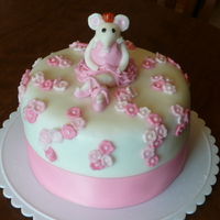 Angelina Ballerina Cake! Fondant 8in cake with fondant decorations! TFL!!!