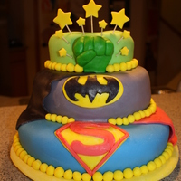Super Hero Cake! 3 tier superhero cake made for my little superhero's 6th birthday! Top and bottom tier are lemon cake with lemon buttercream, and...