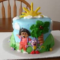 Dora The Explorer Cake! 8in fondant covered cake with fondant decorations! TFL!!!