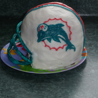 Miami Dolphins Helmet Buttercream and gumpaste