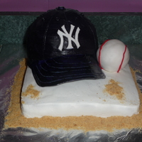 Another Yankee Hat Cake   Yankee hat sitting on first base with baseball