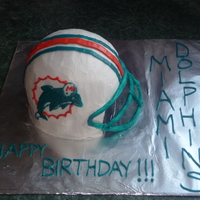 Miami Dolphins Helmet   Last minute birthday cake for my cousin, a big dolphins fan