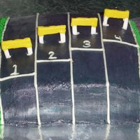 Track And Field Cake   Cake is BC hurdles are fondant and gumpast lines and numbers are royal icing