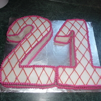 21St Birthday   White cake with buttercream icing and decorating