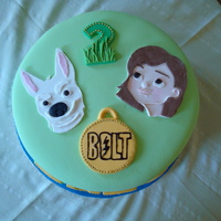 Bolt & Penny 2Nd Birthday Cake Happy Birthday Enzo!!Handmade 2D fondant cutouts.