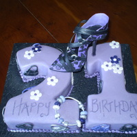 21St Birthday Purple Shoe   victoria sponge covered in purple fondant with gumpaste stiletto