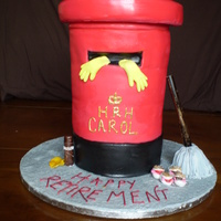 "Cleaning Lady Retirement Cake   8*7"" + 1* 9"" Victoria sponge covered in red fondant, for a Royal Mail cleaning lady"