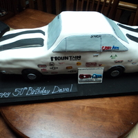 Camero Drag Car Chocolate Cake, vanilla Buttercream, fondant covered. hand-painted decals