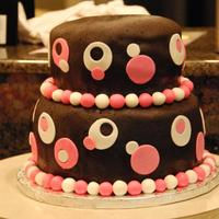 Girl Polka Dot Baby Shower Cake Pink and Brown Polka Dot Fondant Cake