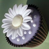"Daisy Cupcakes Tutorial can be found in Peggy P's ""Pretty Party Cakes"" book. This chocolate cupcake has 2 layers of liquid fondant (1 coat..."
