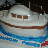 Fp Boat Cake   Red velvet cake with cream cheese icing. Made for a dear friend who is retiring.