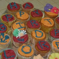 Birthday Cupcakes My birthday Cupcakes different color buttercream icing toped with some letters or royal flowers.