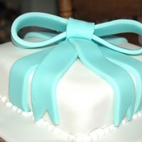 "Fondant Blue Bow Cake 8"" Squared two layered Fondant Cake, With a bow on top"