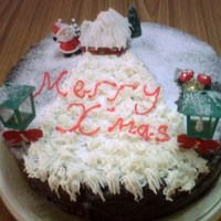 X'mas House This is chocolate cake with house , lamp , tree and santa claus in it cover with snow