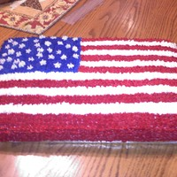 Independence Day Cake My first flag cake. This is a 18inch sheet cake pan. I made it for a 4th of July party tomorrow, I just got finished with it like two...