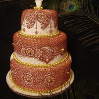 Henna Inspired Wedding Cake   Henna artist from Hennastudio, NYC designed this cake for her Indian Bride.
