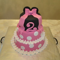 "Minnie Mouse Birthday Cake My daughters second birthday cake. The sizes are 10"", 8"", and 6"" and are all covered with Satin Ice. This was also my first..."