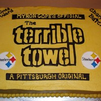 Terrible Towel Peanut Butter buttercream with fondant accents.