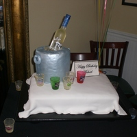Grey Goose Birthday Cake Grey Goose birthday cake. Hand painted sugar bottle and sugar shot glasses. Ice bucket made out of rice krispy treats with fondant painted...