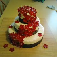 Black White Red Wedding Cake MMF and gumpaste flowers. For a friends wedding!