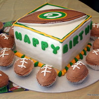 "1St Birthday Football Cake 8"" Square Chocolate Cake Torted with Chocolate Buttercream, FBCT Football on top Fondant ""football"" trim on buttercream..."
