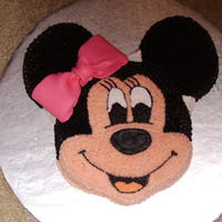 Minnie Mouse I searched forever to find a minnie mouse cake, finally i just stuck a bow on mickey and called it a day!