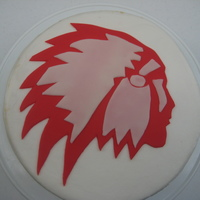 Redskin A vanilla cake I made for my high school reunion. Buttercream with fondant accents.