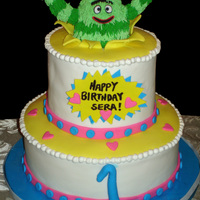 Yo Gabba Gabba Birthday Cake  I made this Brobee cake for my sweet little niece's birthday. Brobee was made out of a fondant/gumpaste mixture and then covered in...