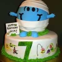 "Mr. Bump  This Mr. Bump birthday cake was a collaborative effort between my son and me. The bottom cake is a 10"" chocolate round covered in..."