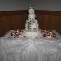 My Niece's Wedding Cake white cake w/strawberry and cream filling...stabilized whipped cream frosting