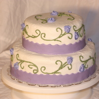 Puple And White Cake Simple butter cream two tier wedding cake