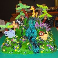 The Jungle Hello! This was made for my daughters 8th birthday party. It is made of fondant, icing, and cake. Enjoy!