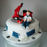 Scooter Ped scooterped and footbal fan teenager cake