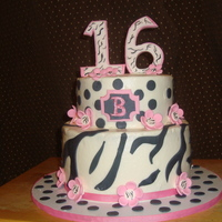 "Sweet 16 And Funky  bc frosting, gumpaste accentshad finals the same day this was due and I feel I rushed to much. ""sigh"" only if there were more..."