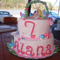Lainie's Cake   buttercream icing, fondant figures lots of PINK!!!!