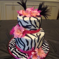 Zebra Crazy WASC, buttercream, fondant and gumpaste accents. First attempt at gumpaste flowers