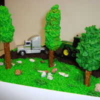 Just Truckin' birthday cake for friends dad. Buttercream Frosting, chocolate rocks, and trees made out of pretzle rods. The trees gave me the most...